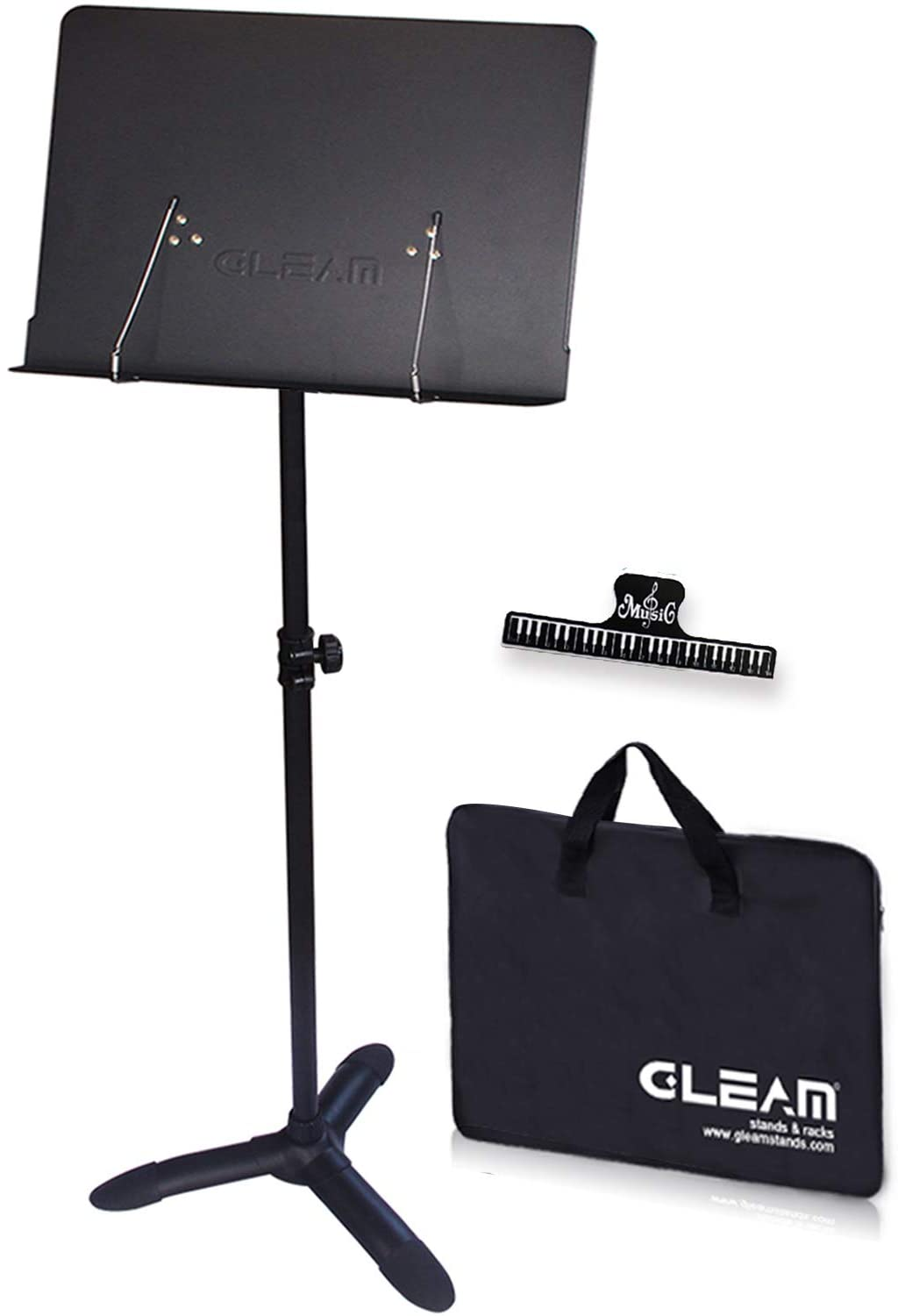 GLEAM Sheet Music Stand with Carrying Bag and Clip Holder - Metal Black