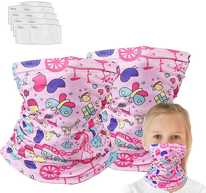 2 Neck Gaiter with 10 Pcs Mask Filters, Effective Protect Mouth and Nose, Multi Funtion for Running, Hiking, Sport Pink Butterfly