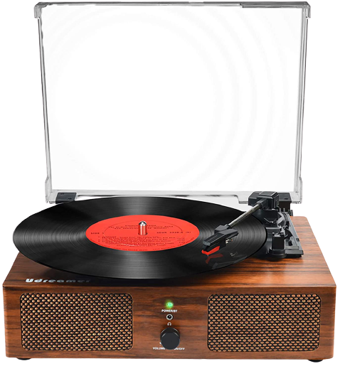 Vinyl Record Player Bluetooth Turntable with Built-in Speakers and USB Belt-Driven Vintage Phonograph Record Player 3 Speed for Entertainment and Home Decoration (Clearence)