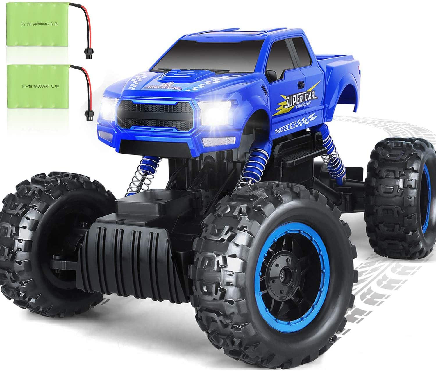 XRace Crawler DOUBLE E 1:12 RC Cars Monster Truck 4WD Dual Motors Rechargeable Off Road Remote Control Truck (Blue)