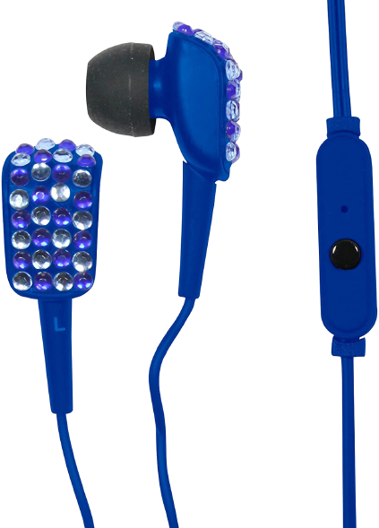 Craig Electronics CHP4831-BL Bling Ear Buds with Microphone, Blue