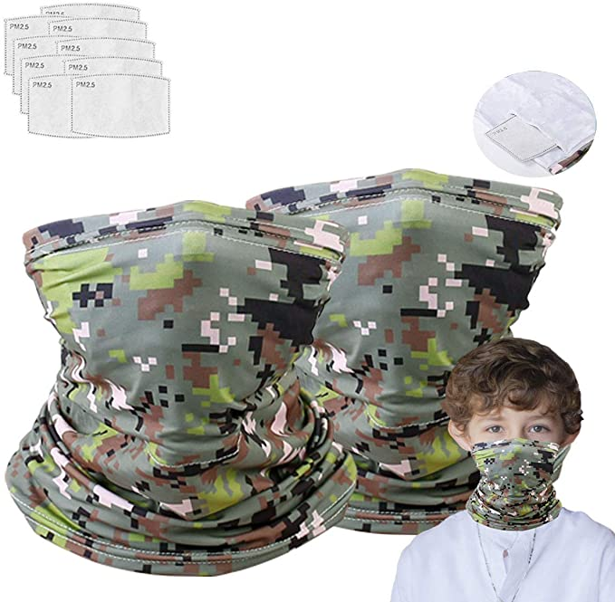 2 Neck Gaiter with 10 Pcs Mask Filters, Effective Protect Mouth and Nose, Multi Funtion for Running, Hiking, Sport Camouflage