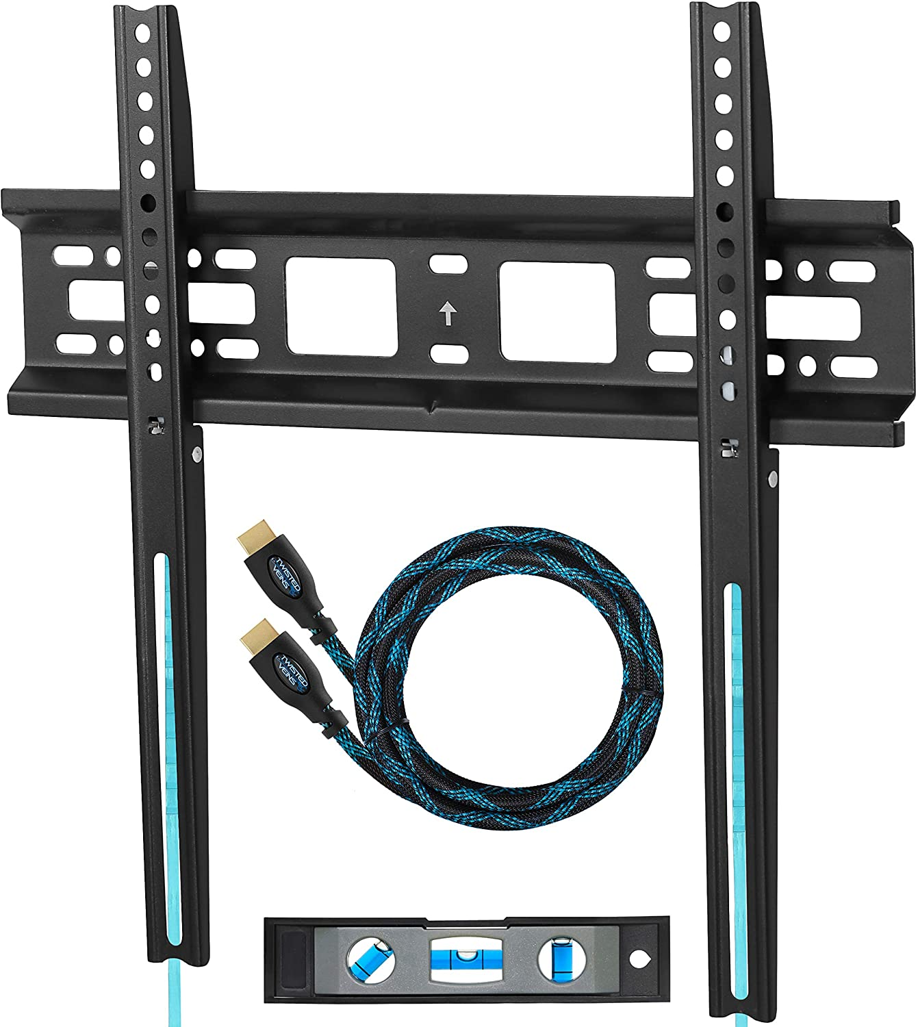 """Cheetah Mounts APFMSB TV Wall Mount Bracket for 20-55"""" TVs Up to VESA 400 and 115 lbs Including a Twisted Veins 10' HDMI Cable and a 6\"""" 3-Axis Magnetic Bubble Level"""
