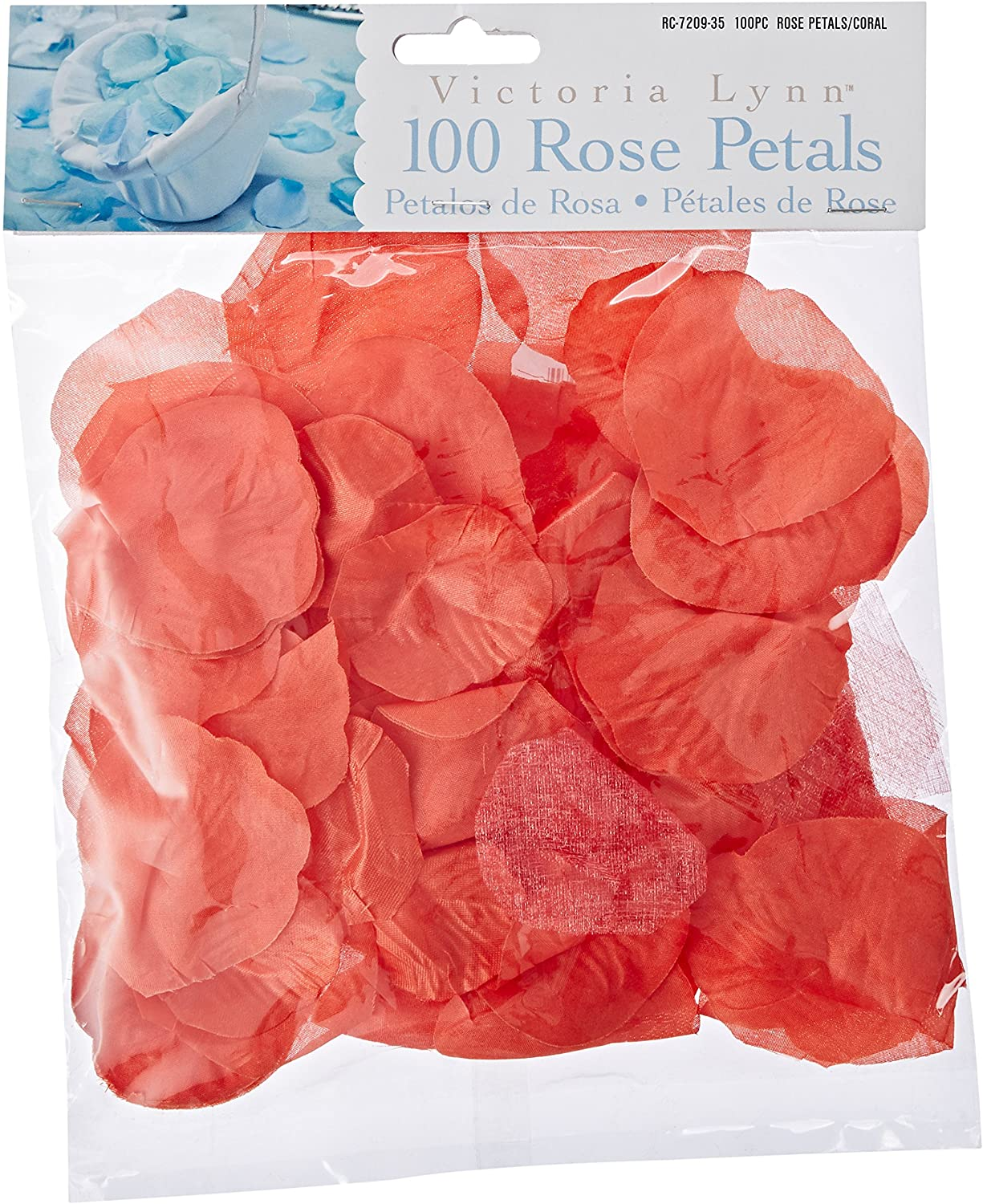 Darice RC-7209-35 Decorative Satin Rose Petals, Coral, 100 Rose Petals
