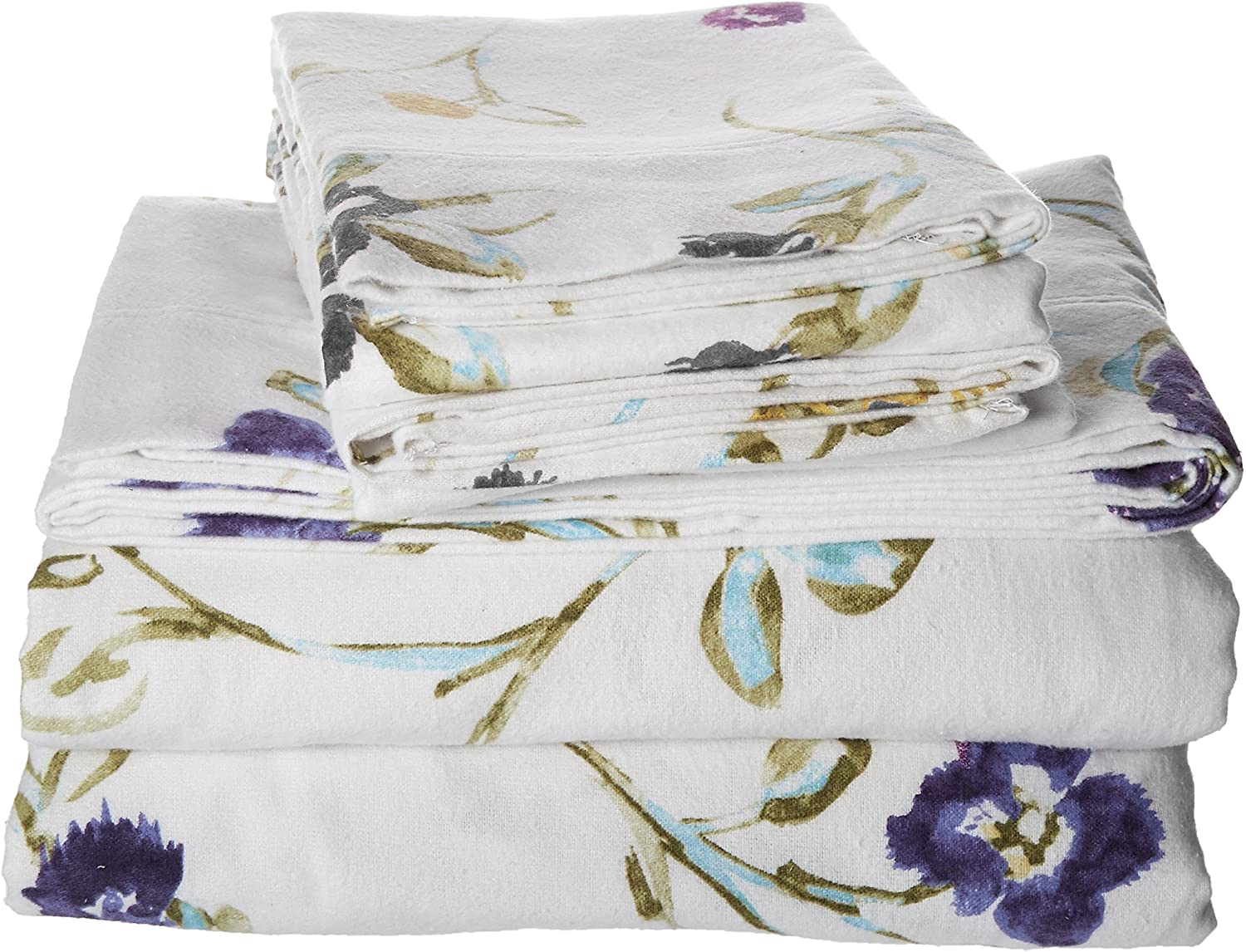 Tribeca Living King Floral Garden Printed Extra Deep Pocket Flannel Sheet Set Size King