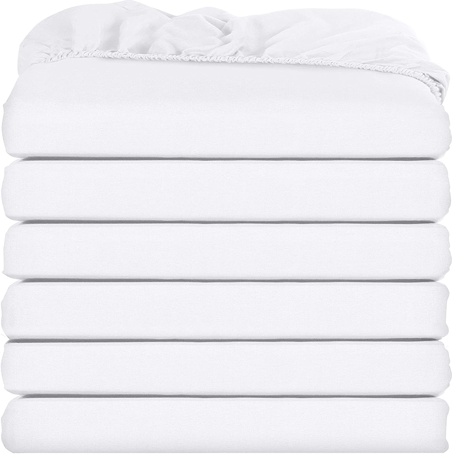 Utopia Bedding Fitted Sheets - Pack of 6 Bottom Sheets - Soft Brushed Microfiber - Deep Pockets, Shrinkage & Fade Resistant - Easy Care (Twin, White)