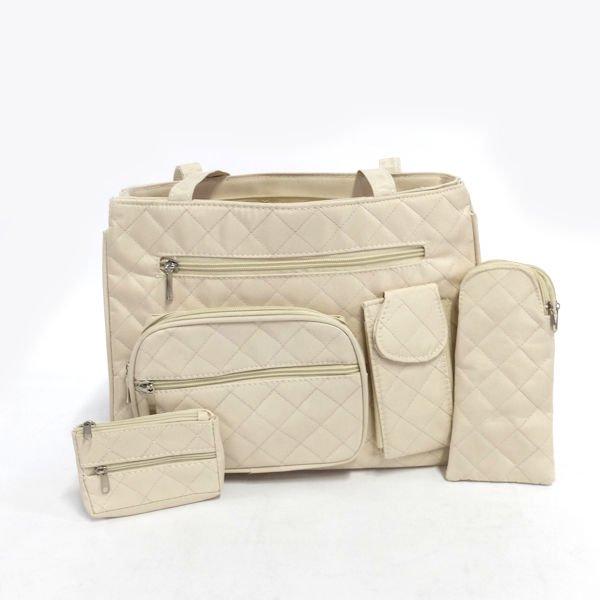 Stylish Women\\\'s Lightweight Quilted Microfiber Handbag in Tan