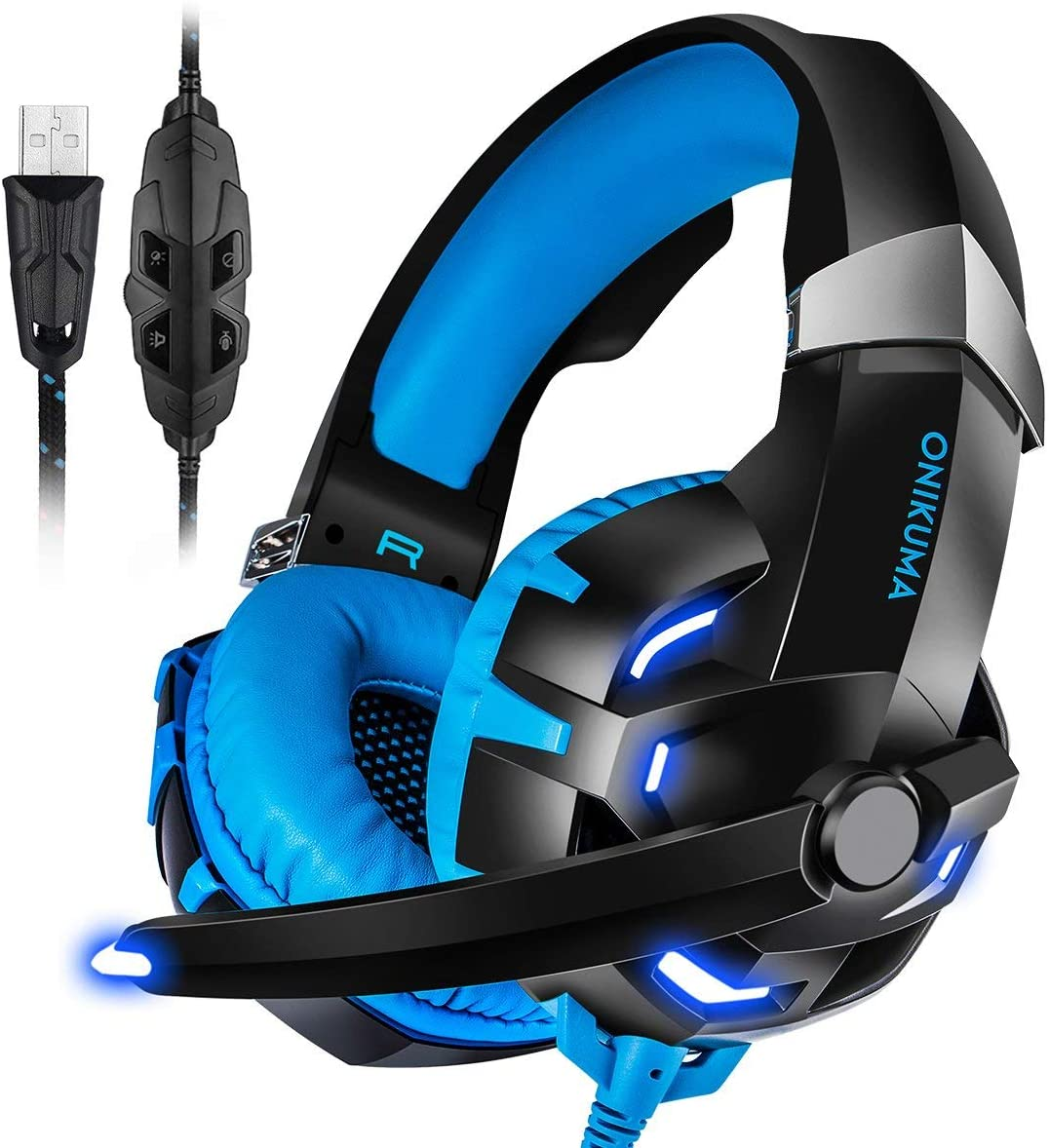 PC Gaming Headset ONIKUMA 7.1 Surround Sound USB Gaming Headset Crystal Clear Sound with Noise Isolating Mic Over-ear Deep Bass Volume Control LED Light for PC Mac Computer Gamers Laptop (Blue)