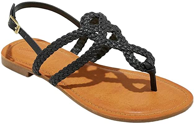 Universal Thread Women's Jana Braided Wide Width Thong Ankle Strap Sandal (Black, 5 1/2 W))