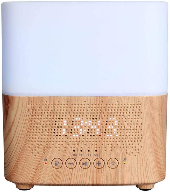 Air Humidifier, Smart Music Bluetooth Speaker Essential Oil Diffuser, Intelligent Ultrasonic Aroma Diffuser - 7 Color LED Lights, Waterless Auto-Off,lightwoodgrain