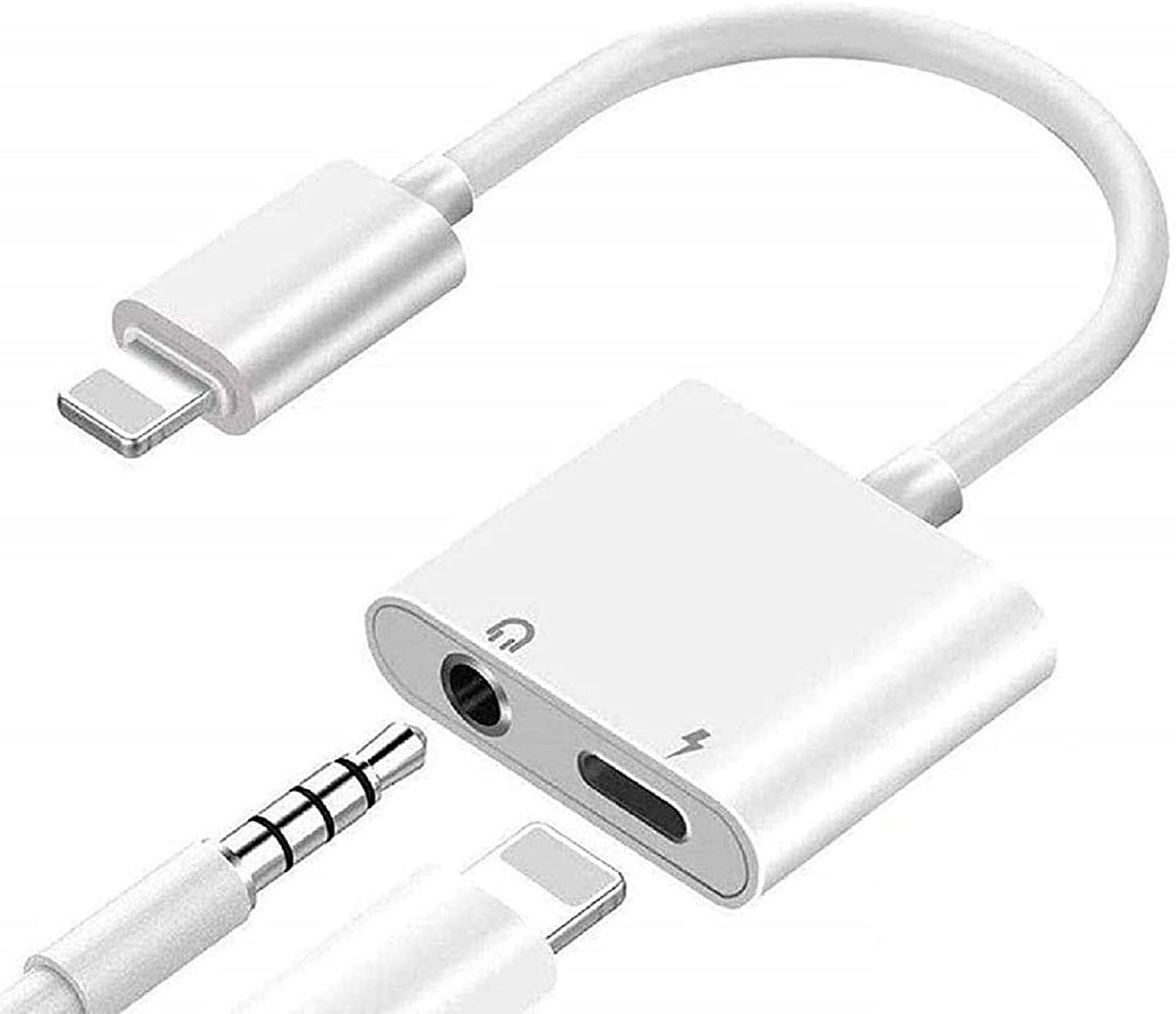 [Apple MFi Certified] Lightning to 3.5mm Headphone Splitter, 2 in 1 Lightning to 3.5mm Headphone Audio & Charger Cable Compatible iPhone 11/XS/XR/X 8 7, iPad, Support Volume Control + Calling + iOS 13
