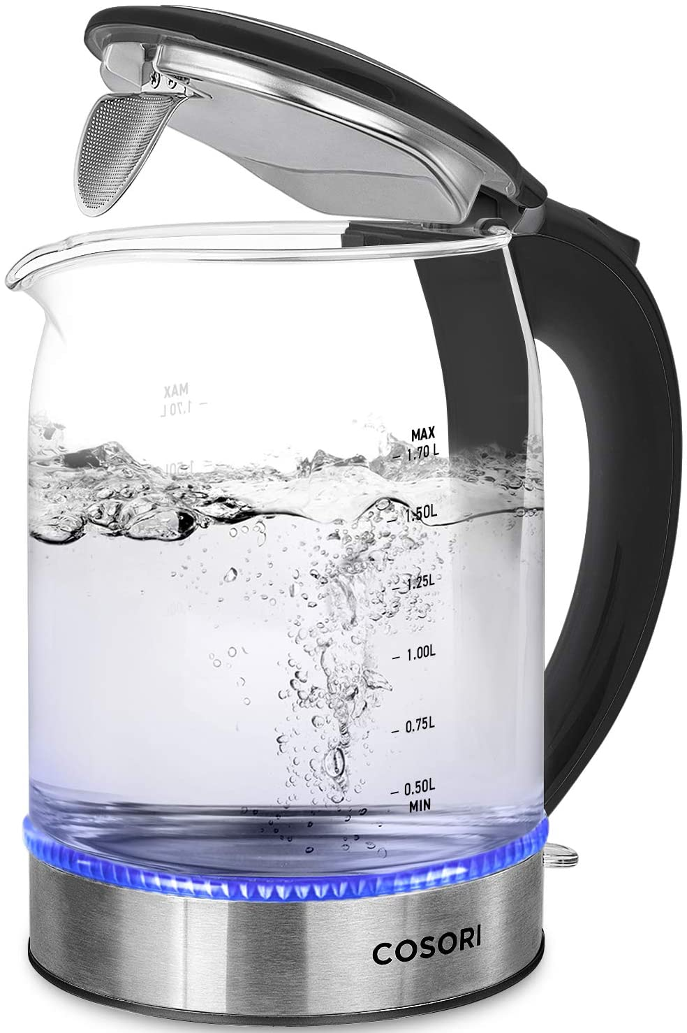 COSORI Electric Kettle, 1.7L Glass Hot Water Boiler & Tea Heater with LED Indicator, 100% Stainless Steel Filter, Inner Lid & Bottom, Auto Shut-Off&Boil-Dry Protection, BPA Free,(Upgraded)