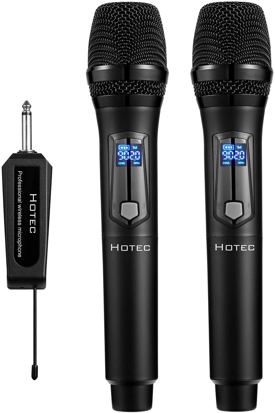 Hotec UHF Dual Wireless Karaoke Microphone with Portable Receiver for Singing Karaoke Teaching Speech Church (H-U26G