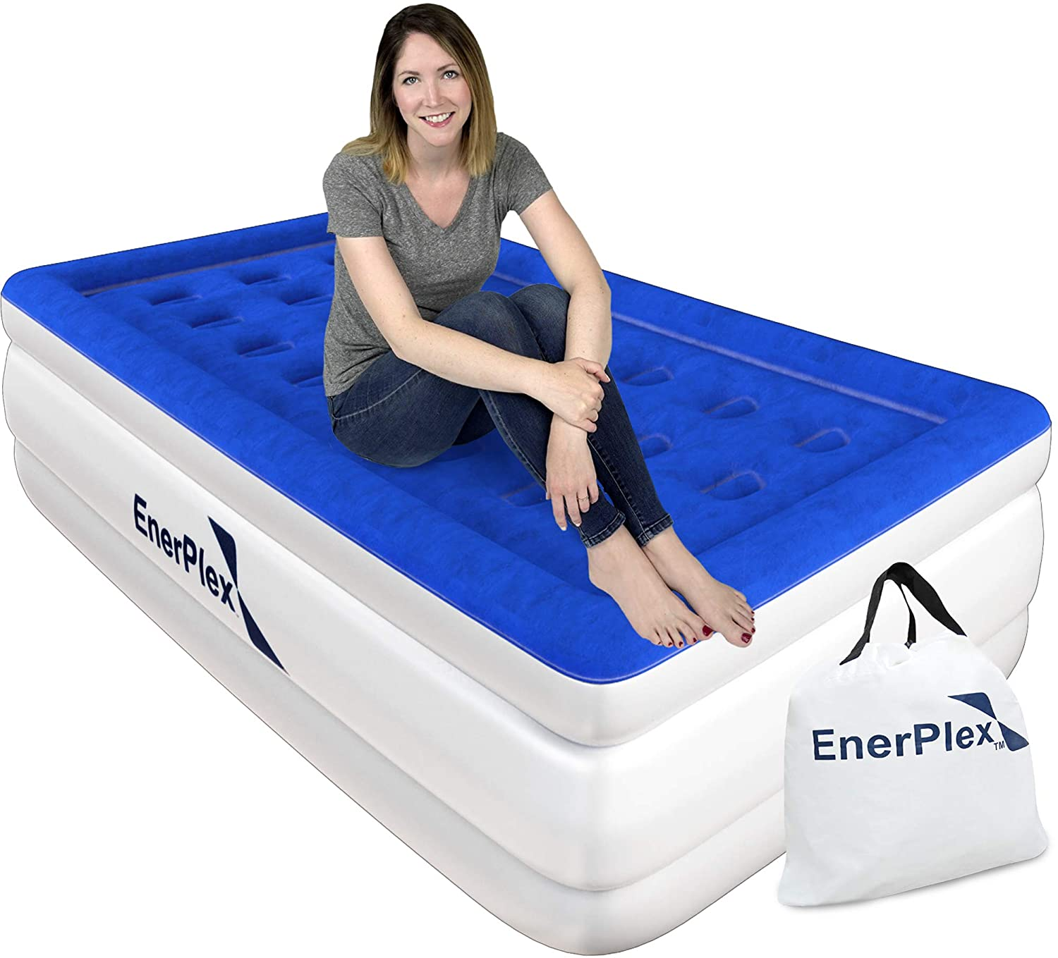 EnerPlex Never-Leak Twin Air Mattress with Built in Pump Raised Luxury Twin Airbed Double High Twin Inflatable Bed Blow Up Bed