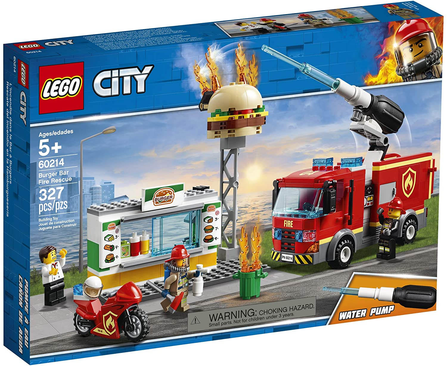 LEGO City Burger Bar Fire Rescue 60214 Building Kit (327 Pieces