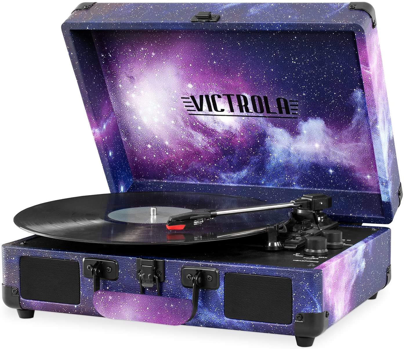 Victrola Vintage 3-Speed Bluetooth Portable Suitcase Record Player with Built-in Speakers   Upgraded Turntable Audio Sound  Includes Extra Stylus   Galaxy (VSC-550BT-GX)