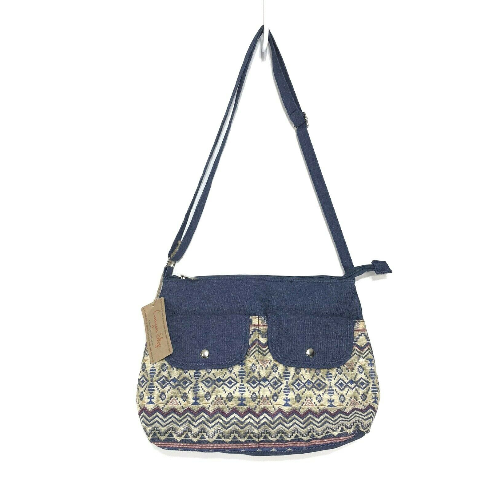 Canyon Sky NWT Quilted Denim Embroidered Southwest Purse Adjustable Strap Bag