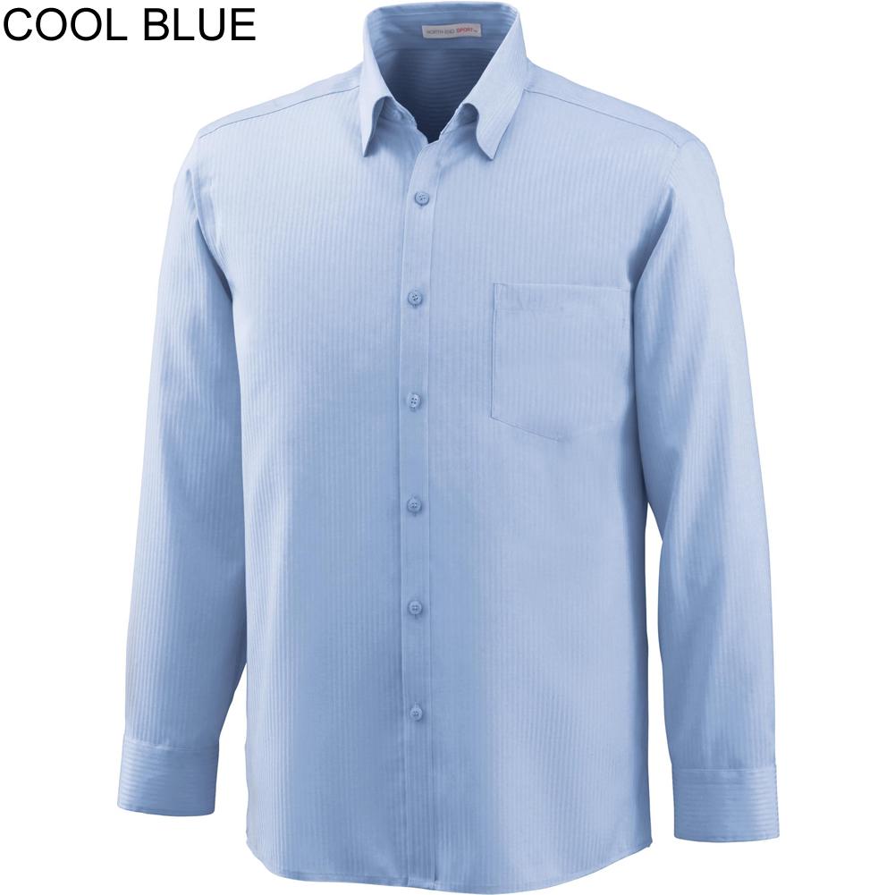 Ash City North End Men\'s Sport Wrinkle Free 2-Ply 80\'s Cotton Taped Stripe Jacquard Long Sleeve Shirt - 88646-808 Size Shirt XL/TG