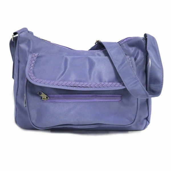 Women's Microfiber Braided Front Pocket Crossbody Bag in Lilac