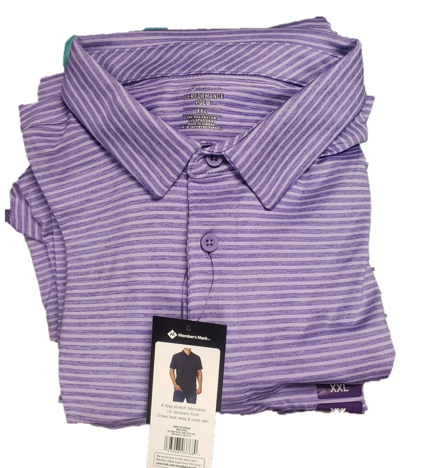 Members Mark Striped Performance Polo Purple Men\\\'s Size XXL