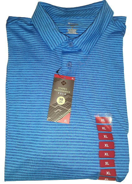 Members Mark Striped Performance Polo Blue Men's Size XL