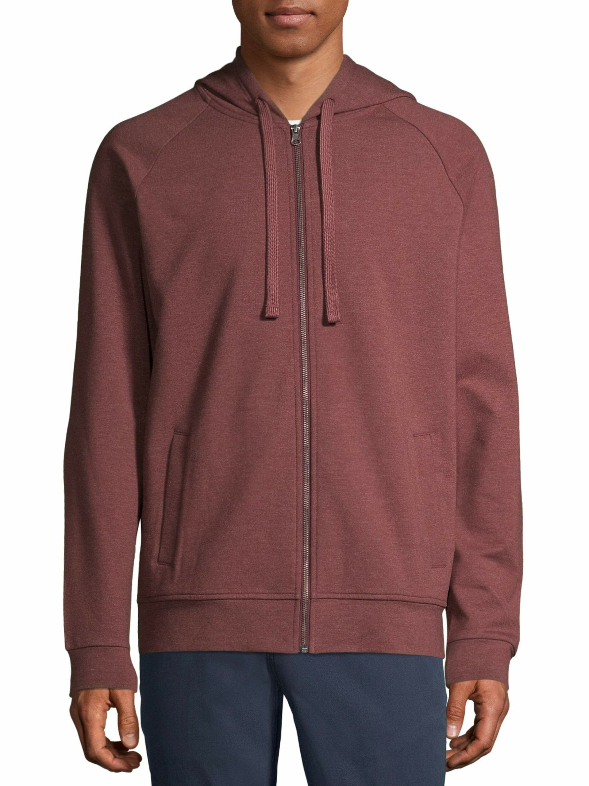 George Men's and Big Men's Fashion Full Zip Hoodie Chianti Heather, up to Size M 38-40