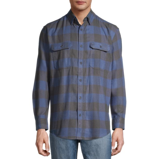 George Men's and Big Men's Super Soft Flannel Shirt Blue Check (Size 2XL 50-52)
