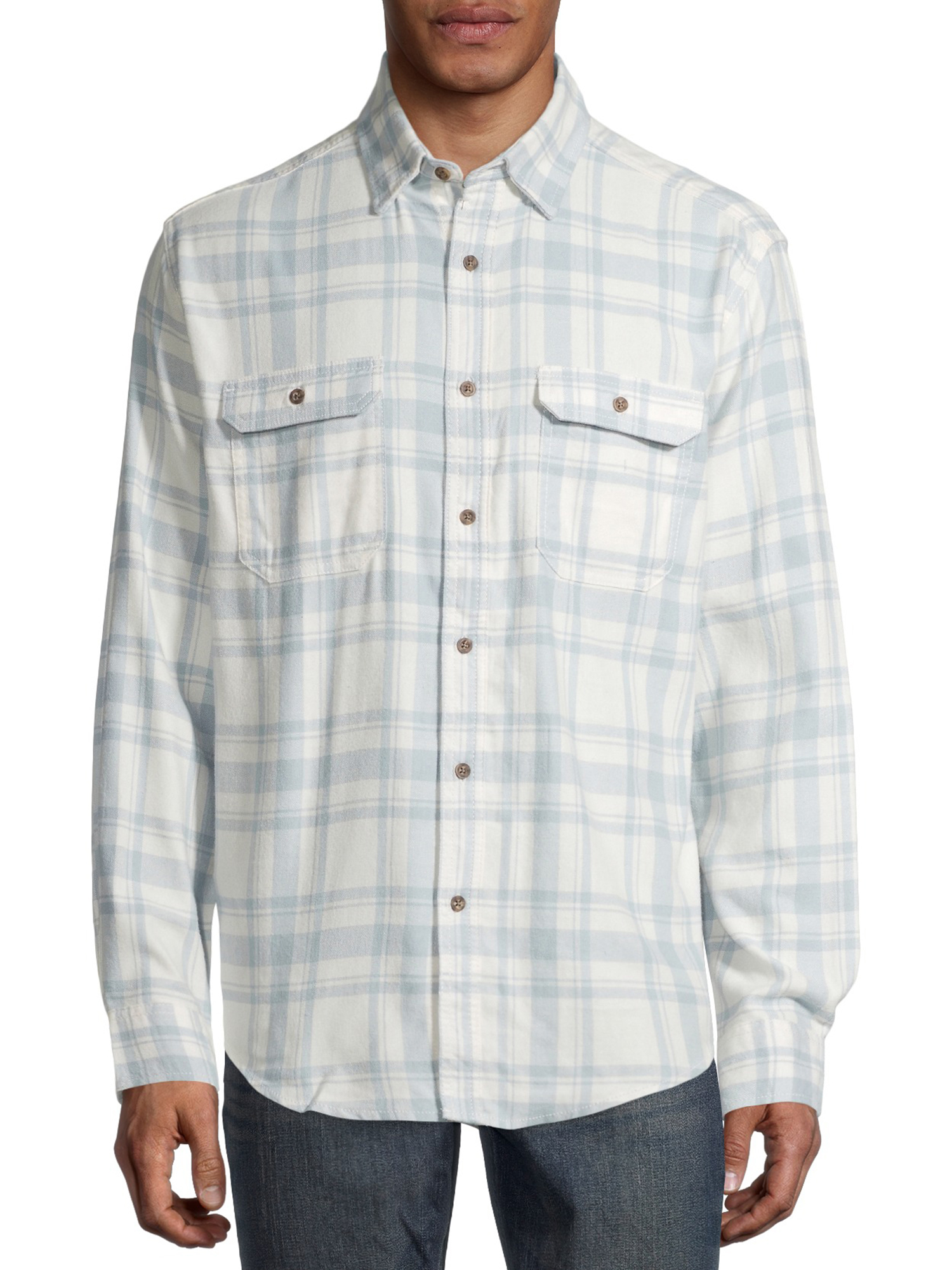 George Men's and Big Men's Super Soft Flannel Shirt White Blue Plaid (Size 3XL 54-56)