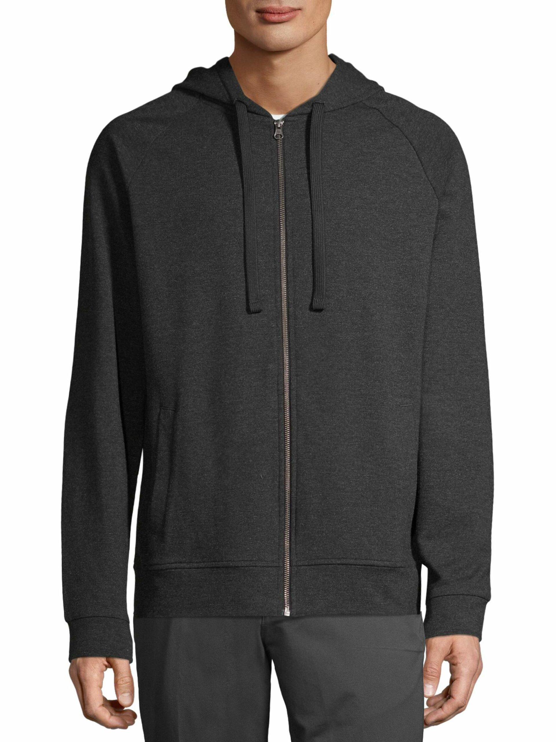 George Men's and Big Men's Fashion Full Zip Hoodie Black Soot Heather, up to Size S/CH 34-36