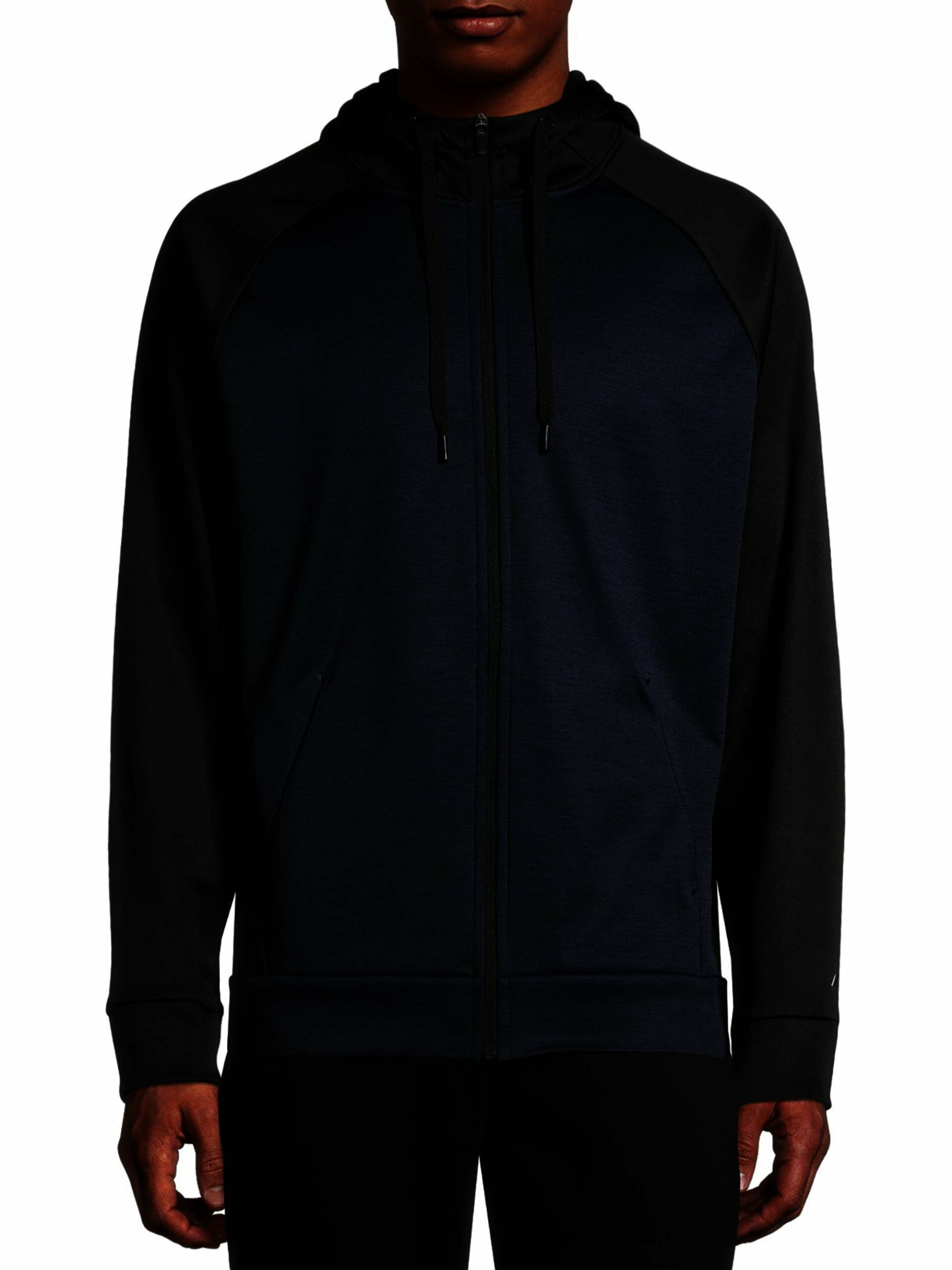 Russell Men's Active Tech Fleece Pullover Full Zip Jacket Rich Black/Blue Cove Heather Size (L/G 42-44)