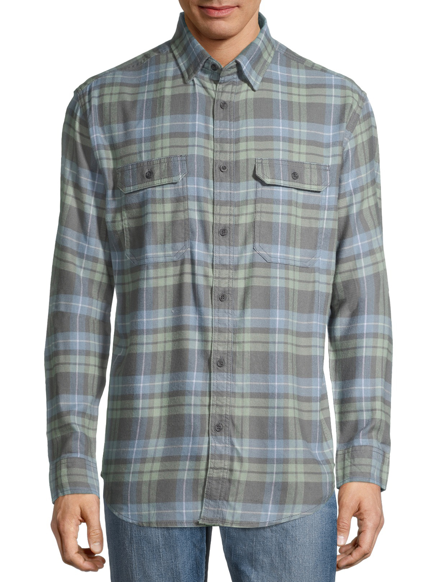 George Men's and Big Men's Super Soft Flannel Shirt Grey Green Plaid (Size 2XL 50-52)