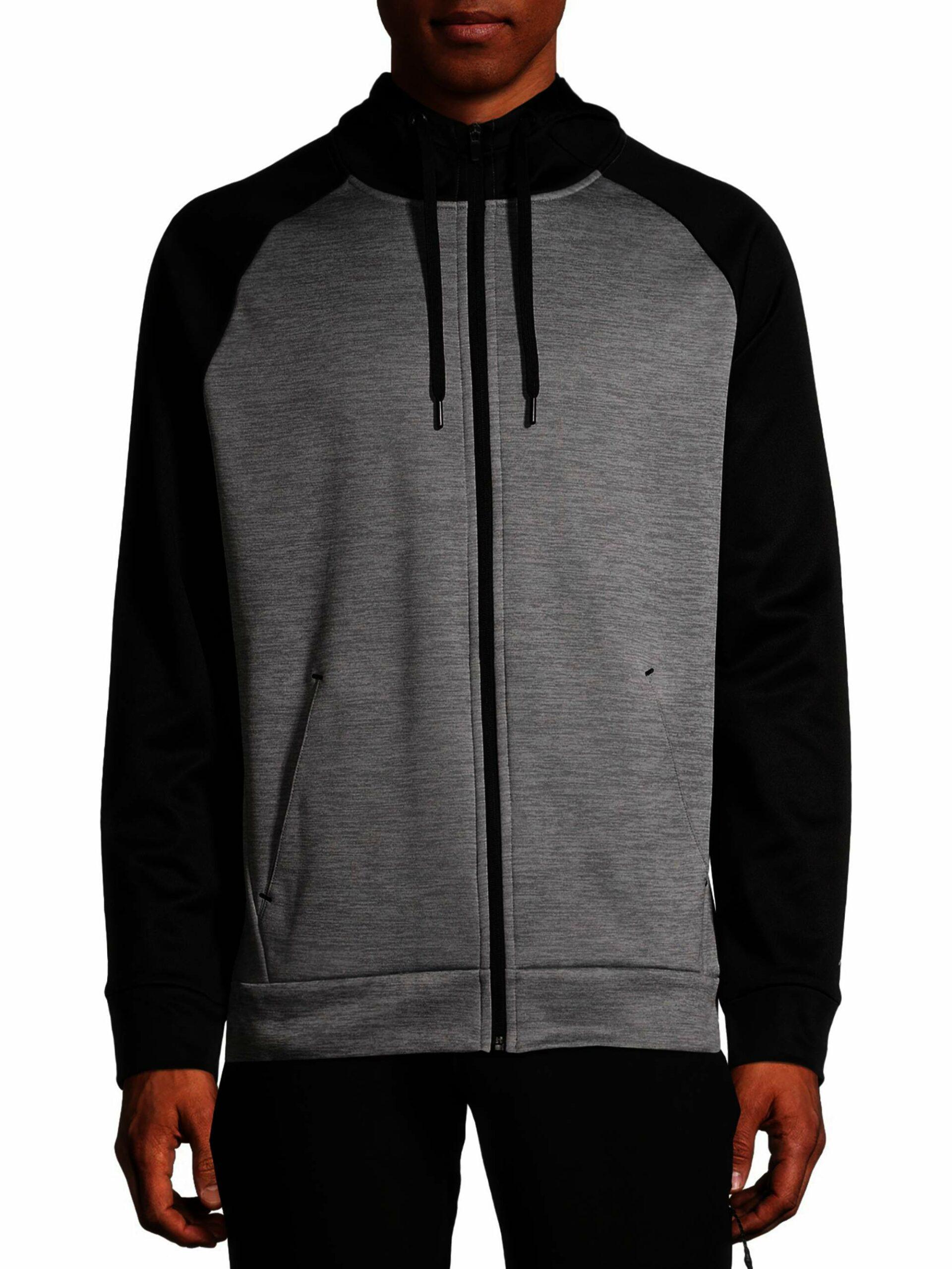 Russell Men's and Big Men's Active Tech Fleece Hoodie Full Zip Jacket, Rich Black/Medium Grey Heather Size XL/XG 46-48