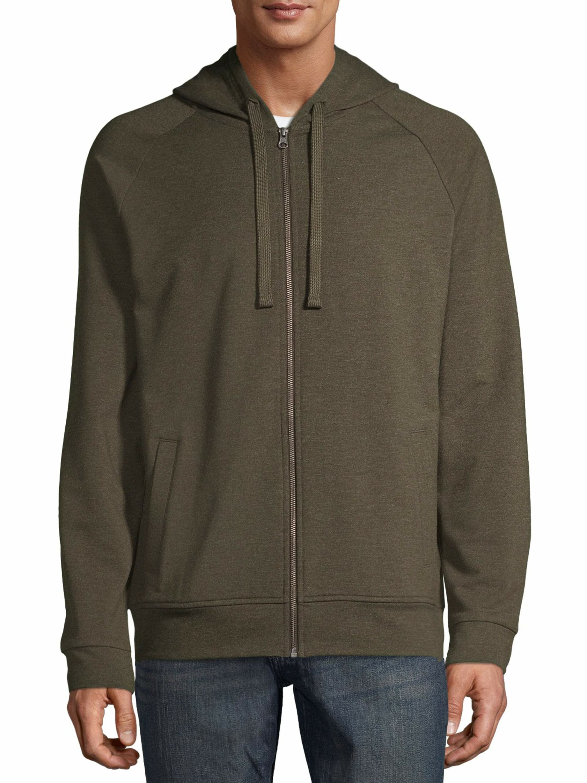 George Men's and Big Men's Fashion Full Zip Hoodie Smoky Olive Heather, up to Size XL/XG 46-48