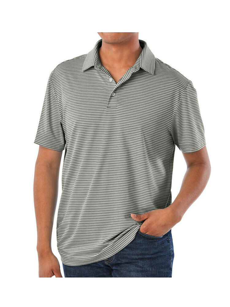Members Mark Mens Performance Polo, Grey Stripe Size XXL
