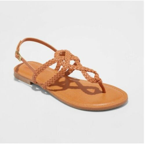 Universal Thread Women's Jana Braided Wide Width Thong Ankle Strap Sandal (Cognac, Size 5 1/2)