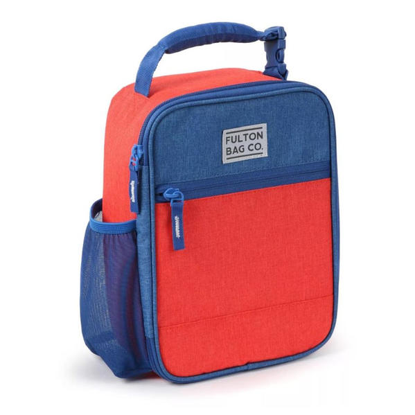 Thermal Insulated Zippered Lunch Bag Box (Upright) Hardbody Sturdy (Modern Colorblock Red/Blue)