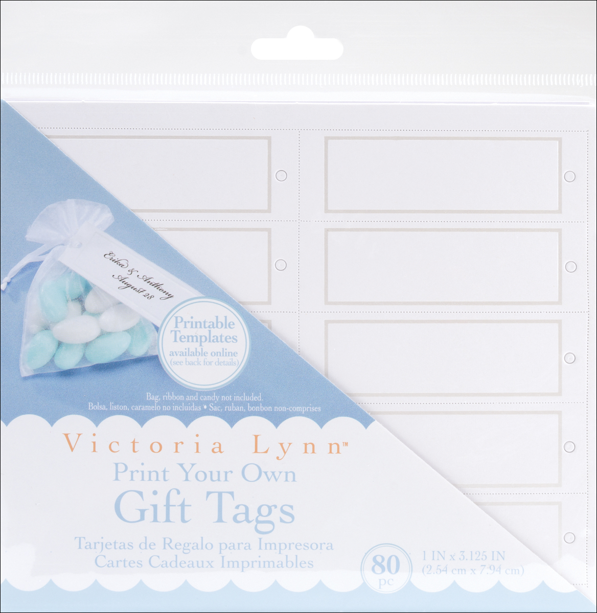 """Victoria Lynn Print Your Own Gift Tags 1""""X3.125"""" 80/Pkg-White Rectangle W/Pearl"""