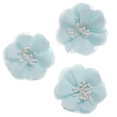 Floral Magnolia Embellishments, 3ct- Aqua