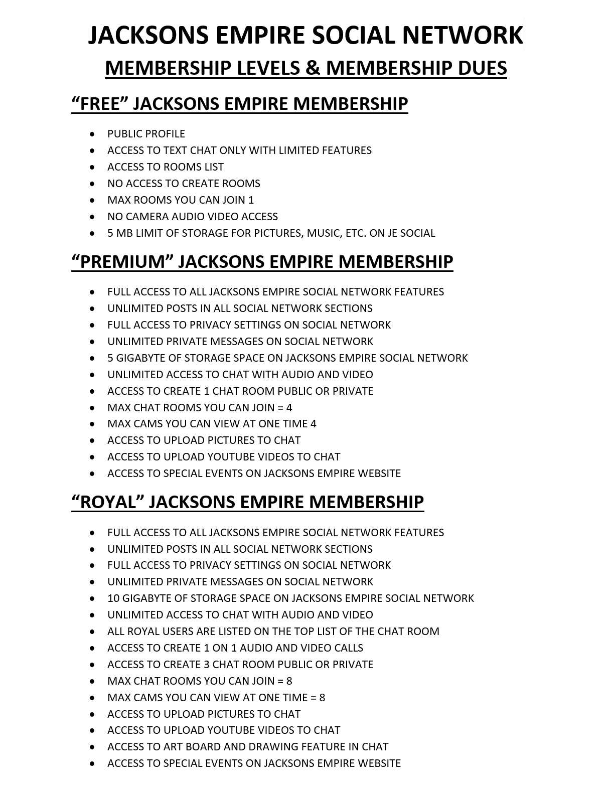 Membership Levels Page 1